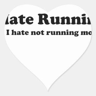 Odio correr black.jpg calcomanía de corazón