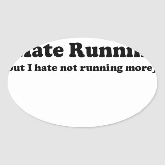 Odio correr black.jpg pegatina de oval