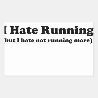 Odio correr black.jpg rectangular pegatina