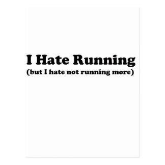 Odio correr black.jpg tarjeta postal