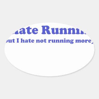 Odio correr el azul pegatina óval personalizadas