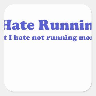 Odio correr el azul calcomanías cuadradass personalizadas