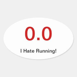 Odio correr pegatinas oval personalizadas