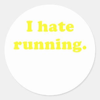 Odio correr etiqueta redonda