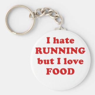 Odio correr pero amo la comida llavero redondo tipo pin