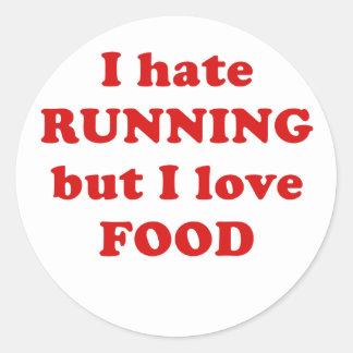 Odio correr pero amo la comida pegatina redonda