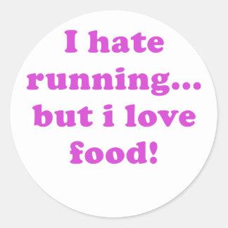 Odio correr pero amo la comida etiquetas redondas