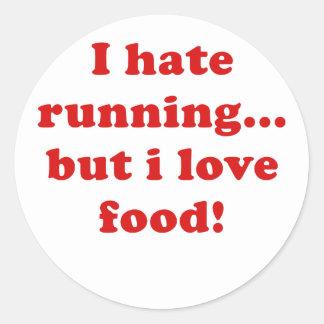Odio correr pero amo la comida pegatinas redondas