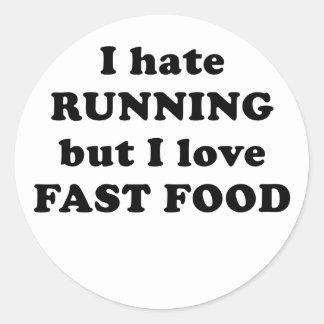 Odio correr pero amo los alimentos de preparación pegatinas redondas