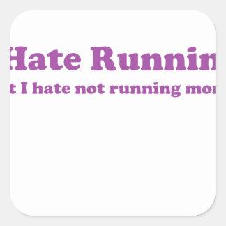 Odio correr púrpura pegatinas cuadradases