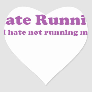 Odio correr púrpura pegatina de corazon personalizadas