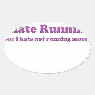 Odio correr púrpura calcomanía de óval personalizadas