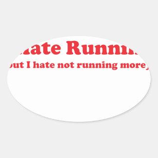 Odio correr rojo colcomanias de oval