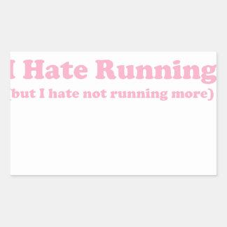 Odio correr rosa rectangular pegatinas