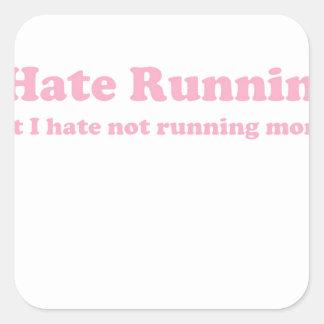 Odio correr rosa colcomanias cuadradas personalizadas