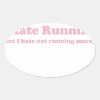 Odio correr rosa pegatinas óval personalizadas
