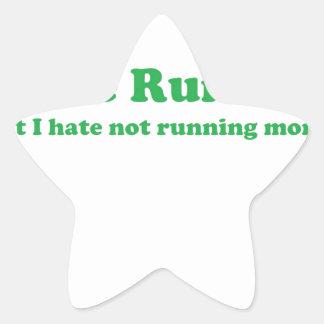 Odio correr verde calcomanías forma de estrella personalizadas
