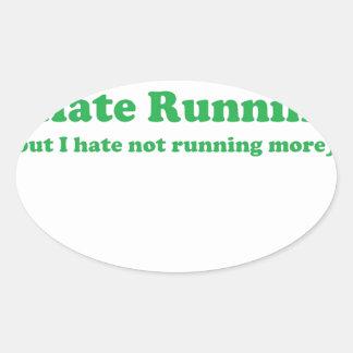 Odio correr verde pegatina de ovaladas