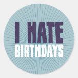 Odio cumpleaños pegatina