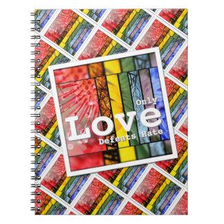 Odio de las derrotas del amor del símbolo del spiral notebook