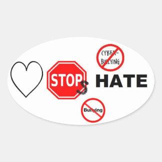Odio de las paradas del amor pegatina ovalada