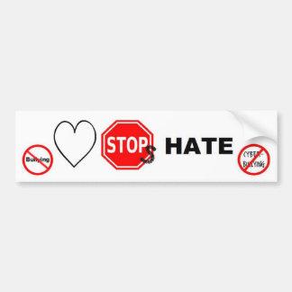 Odio de las paradas del amor pegatina para auto