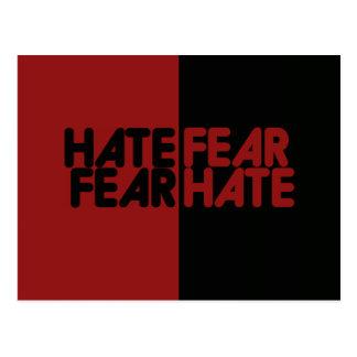 Odio del miedo del miedo del odio tarjeta postal