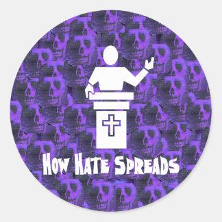 Odio del púlpito pegatinas redondas