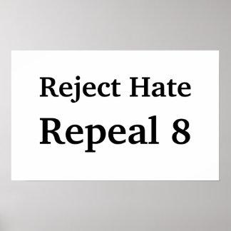 Odio del rechazo, derogación 8 póster
