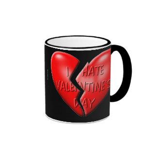 Odio día de San Valentín Taza De Dos Colores