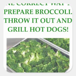 odio el bróculi pegatina cuadrada