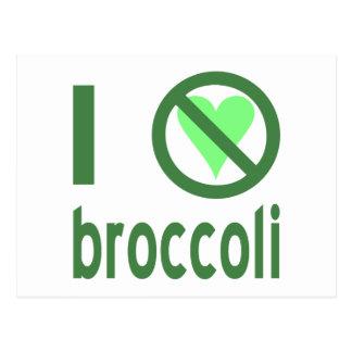 Odio el bróculi tarjeta postal