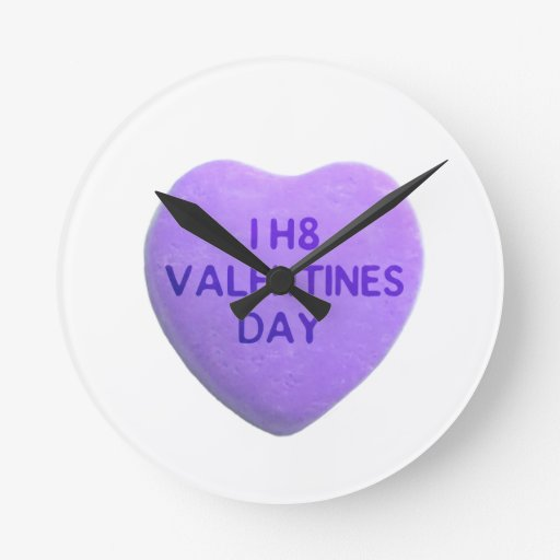 Odio el corazón púrpura del caramelo del día de Sa Reloj De Pared