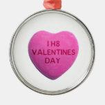 Odio el corazón rosado del caramelo del día de San Adornos
