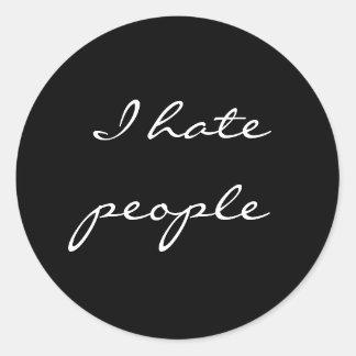 Odio gente etiqueta redonda