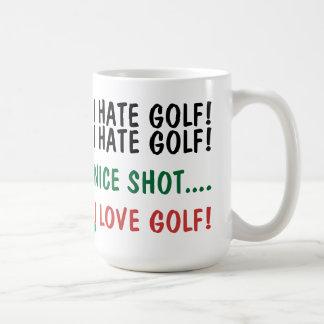 ¡Odio golf! ¡Amo golf! Taza De Café