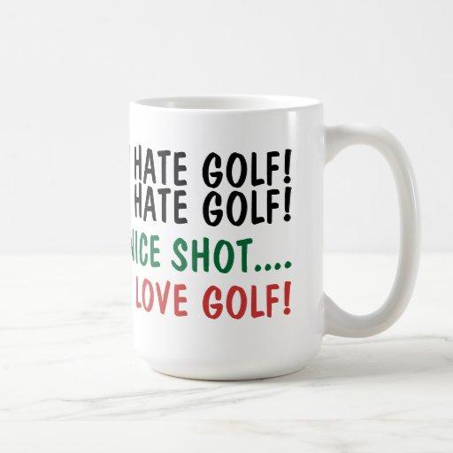 ¡Odio golf! ¡Amo golf! Tazas