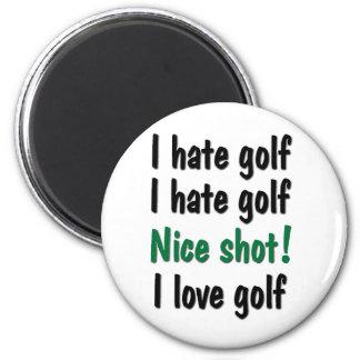 Odio - golf del amor imán de nevera