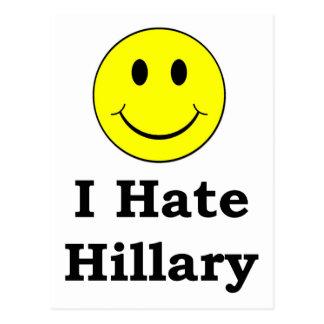 Odio la cara sonriente feliz de Hillary Tarjetas Postales