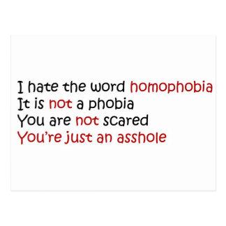 Odio la homofobia de la palabra tarjetas postales