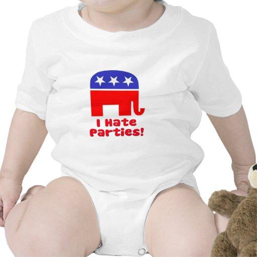 Odio los fiestas traje de bebé