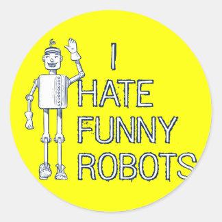 Odio los robots divertidos pegatinas redondas