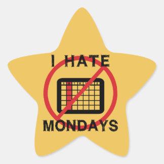 Odio lunes (el fondo ligero) pegatina en forma de estrella