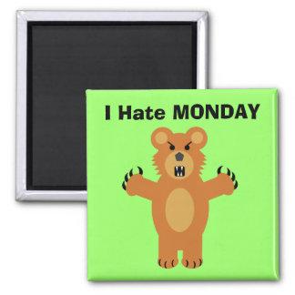 Odio lunes imán cuadrado