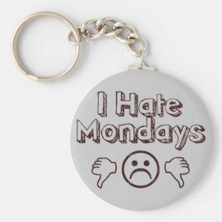 Odio lunes llavero redondo tipo pin