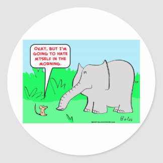 odio mismo del elefante del ratón pegatina redonda