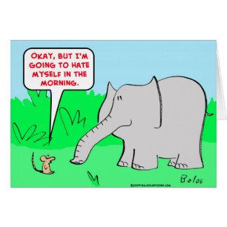 odio mismo del elefante del ratón tarjeta de felicitación