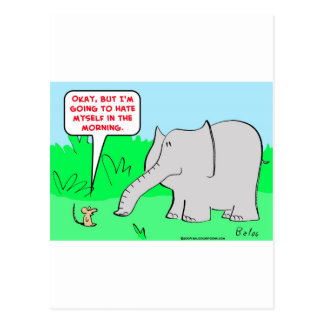 odio mismo del elefante del ratón tarjetas postales