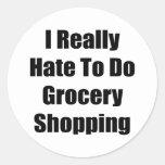 Odio realmente hacer compras etiqueta redonda