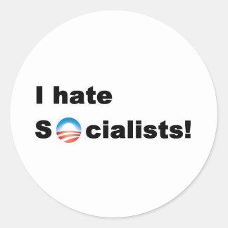 Odio socialistas pegatina redonda